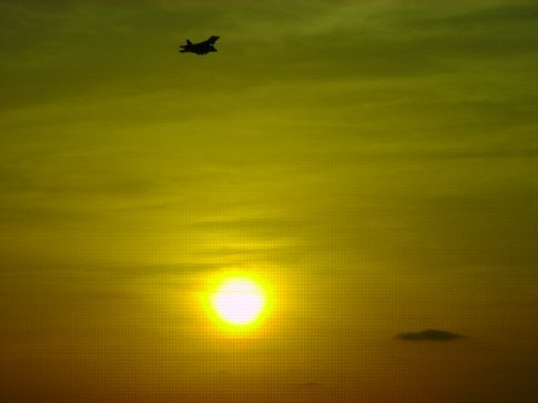 F-series returning to base at sunset.