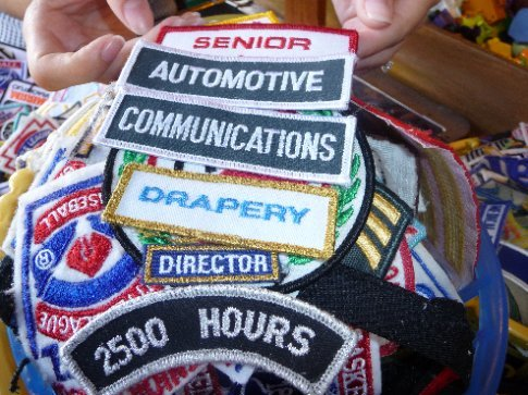 We had a lot of fun making funny phrases out of patches in American Village!  How would you like to have to sew this onto your jacket?!