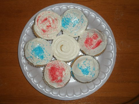 My first attempt at cupcakes...at least they look a little partiotic!