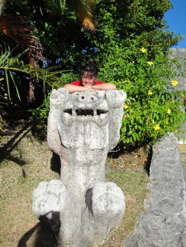 Mama made friends with one of Brandon's shisa.