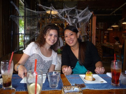 Megumi and I at lunch with Mama.  We each had a different kind of curry and yummy dessert!