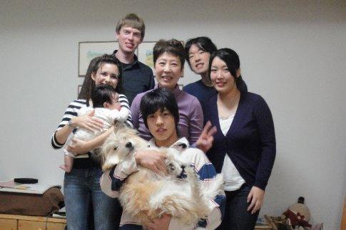 Clockwise - Arielle & baby Iori, Brandon, Mom Tomita, Kanji, Sakurako, Shinta & Fuku-chan