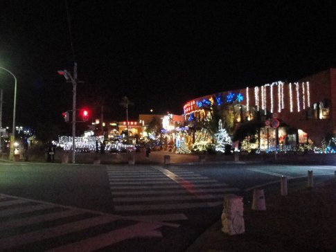 American Village is lit up for the Christmas season.