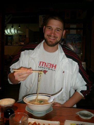 Dick takes a moment to pose with his ramen.
