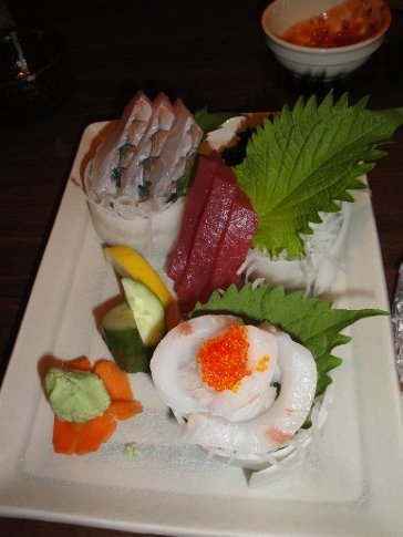 Three kinds of Okinawan sashimi (raw fish.)  Delicious!