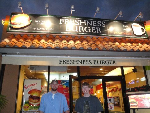 Dick and Brandon outside Freshness Burger in American Village.