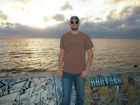 Dick enjoying the sunset at the Sea Wall.