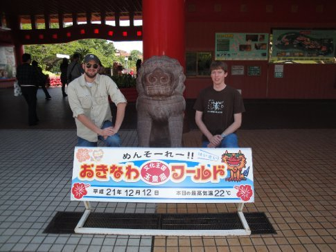Dick and Brandon at the entrance to Okinawa World.