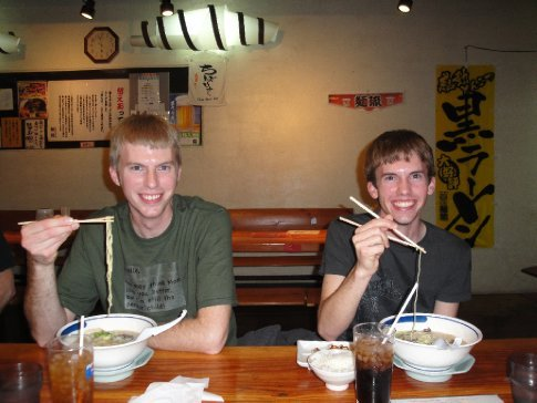 Dustin and Steven enjoying their ramen.