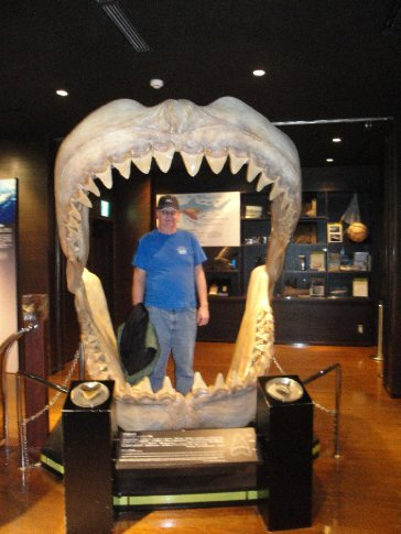 Dad hanging out in the mouth of the shark.