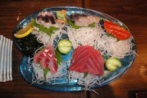 A gorgeous plate of Okinawan sashimi (raw fish)we had as part of our dinner at the Okinawa restaurant.  Yummy!