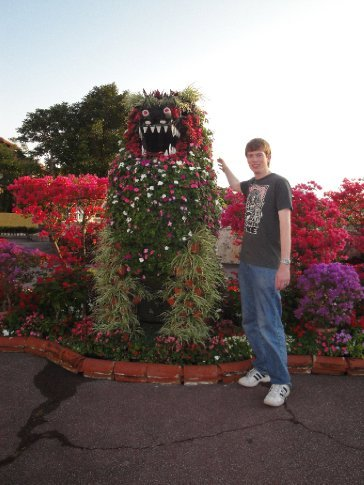Brandon and his new flowery shisa friend.