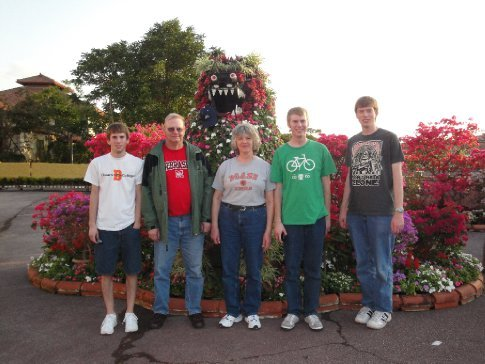 The Carlson family and the flowery shisa.