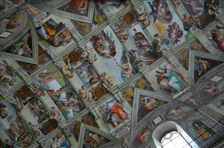 The ceiling of sistine chapel - private chapel of Pope