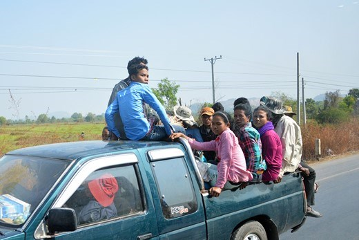 Transportation of over dozen Cambodian workers in a pick-up vehicle.