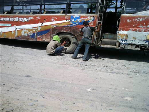 what's an Indo bus journey without the need to change a tyre?