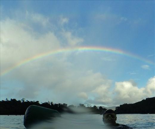 Dave snorkelling with a rainbow at Iboih, Sabang.  (Pulau Weh).