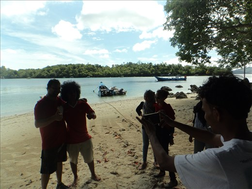 Photo of the paparazzi with Dave.  Iboih Beach.  Pulau Weh.