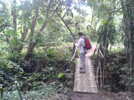 Dave on scary bridge in Monkey Forest, Ubud