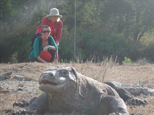 B & TJ with komodo on Komodo Island.
