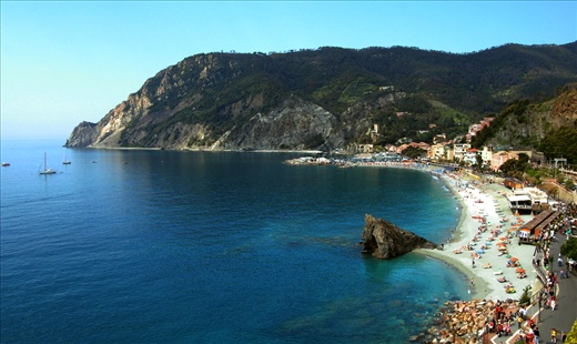 Travelers and hikers begin their 9km hike through the Italian Riviera with this view of the Mediterranean from Monterosso, Italy.