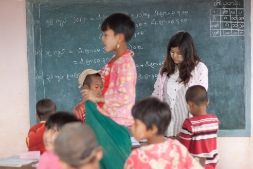 Burmese kids learning the math in the classroom in the local school
