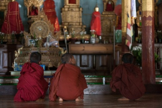 Monks praying in the monastery