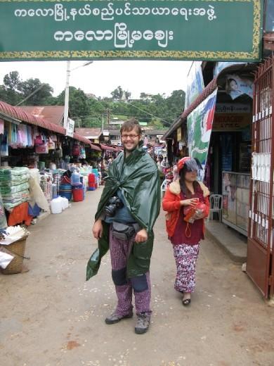 Matija and raincoat at Kalaw's market