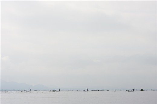After renting a boat in Nyaungshwe main dock, we set out one morning to discover how the locals spend their mornings on Inle Lake. On the pale horizon small dots occur separating the sky and the lake. They move in a group as a fish shoal united in one cause - to bring home the bacon or in this case fish.