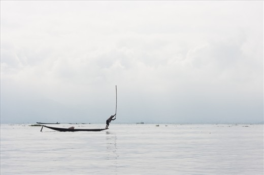 The lake is unusually shallow, around two to three meters so the locals developed a distinctive technique which includes battering the water surface with an oar to guide the fish in one direction.