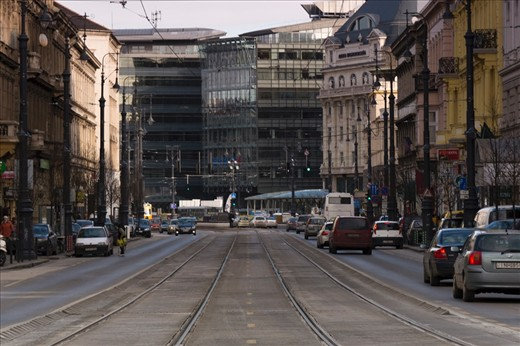 The road to Calvin Square, Budapest, where old few story buildings collide with large glass architecture.