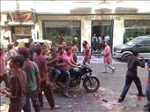 Motorbike with 4 people on it playing Holi: by alinach, Views[108]
