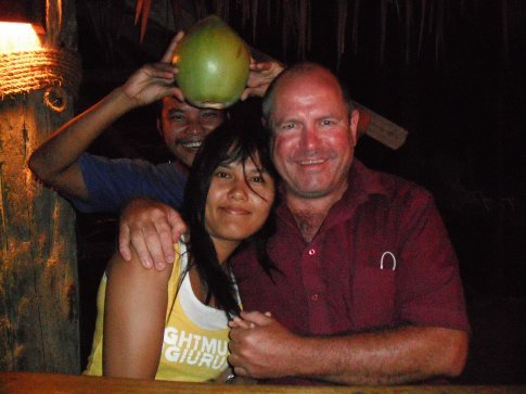 Fern and I with the coconut that nearly decapitated me.