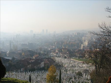 View of city and one of many graveyards