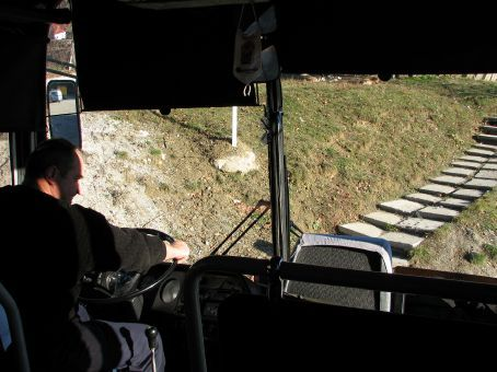 The bus 'broke down' on the way to Lake Ohrid and was given a push start