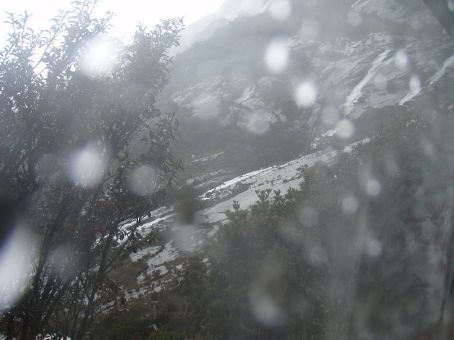 The view from my room - it's relly raining outside, whole rivers are flowing down the mountain. I'm staying in bed.