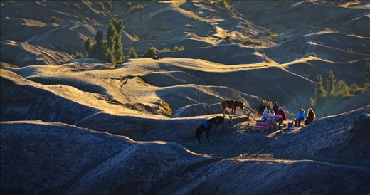 The sun had just risen when these tourists had their morning coffee. The Tengger people of Bromo live by developing tourist-friendly facilities in the area, from renting horses to selling hot food and beverages.