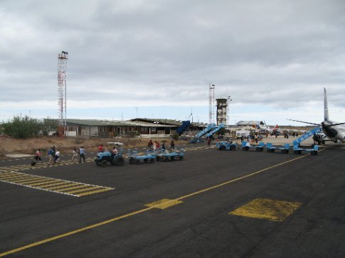 airport in Baltra Island, Galapagos Islands