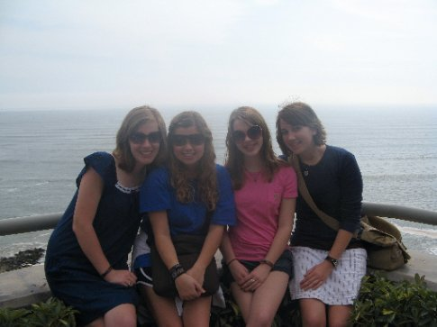 Sarah, Dabney, Abigail, and Lauren in front of the Pacific Ocean.