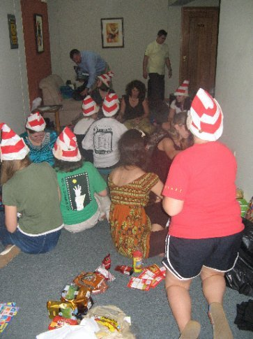 Elves hard at work organizing the supplies.