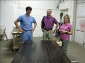 Dale, Marcus and Whitney enjoyed seeing the projects at the wood shop.  This table is made of Pona wood and that is the natural color without stain.: by alleen, Views[156]