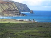 Tongariki taken from the top of the volcano where the moai quarry is.: by alleen, Views[756]