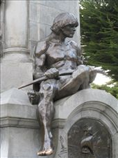 This Ona man is on the side of the monument in Plaza Munoz Gamero.  Everyone rubs or kisses the toe for luck.  So, you´ll see it is a shiny brass unlike the rest of his body.: by alleen, Views[232]