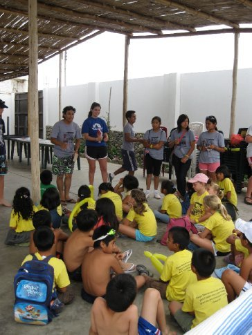 bible lesson before the pool activity