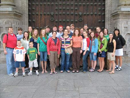 Our Group in front of the cathedral in Plaza dÁrmas in Lima