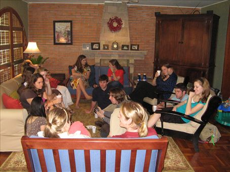 Gathering in the Smith´s living room.