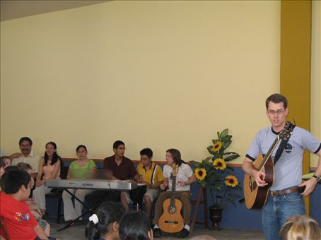 I love our music, bongo drums, guitar and keyboard. Allen and Ry joined in with the Peruvians to provide our worship music.