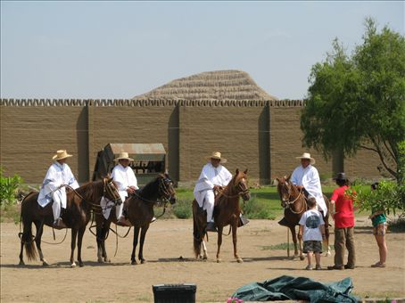 Camp Day one.  Our horses brought in by Peruvians and the Temple of the Sun in the background of our camp.
