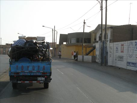 End of day one.  Following the blue truck with some of our camp supplies back to Emmanuel´s church to unload.  This is in the town of Moche.