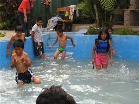 The pool was a big hit!  Many of the children had never seen a pool before or been swimming.